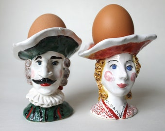 Lady and Gentleman in cocked hats hand sculpted ceramic Egg Cups Set,Pottery hand painted Egg Holder, ceramic figurine Candle Holders