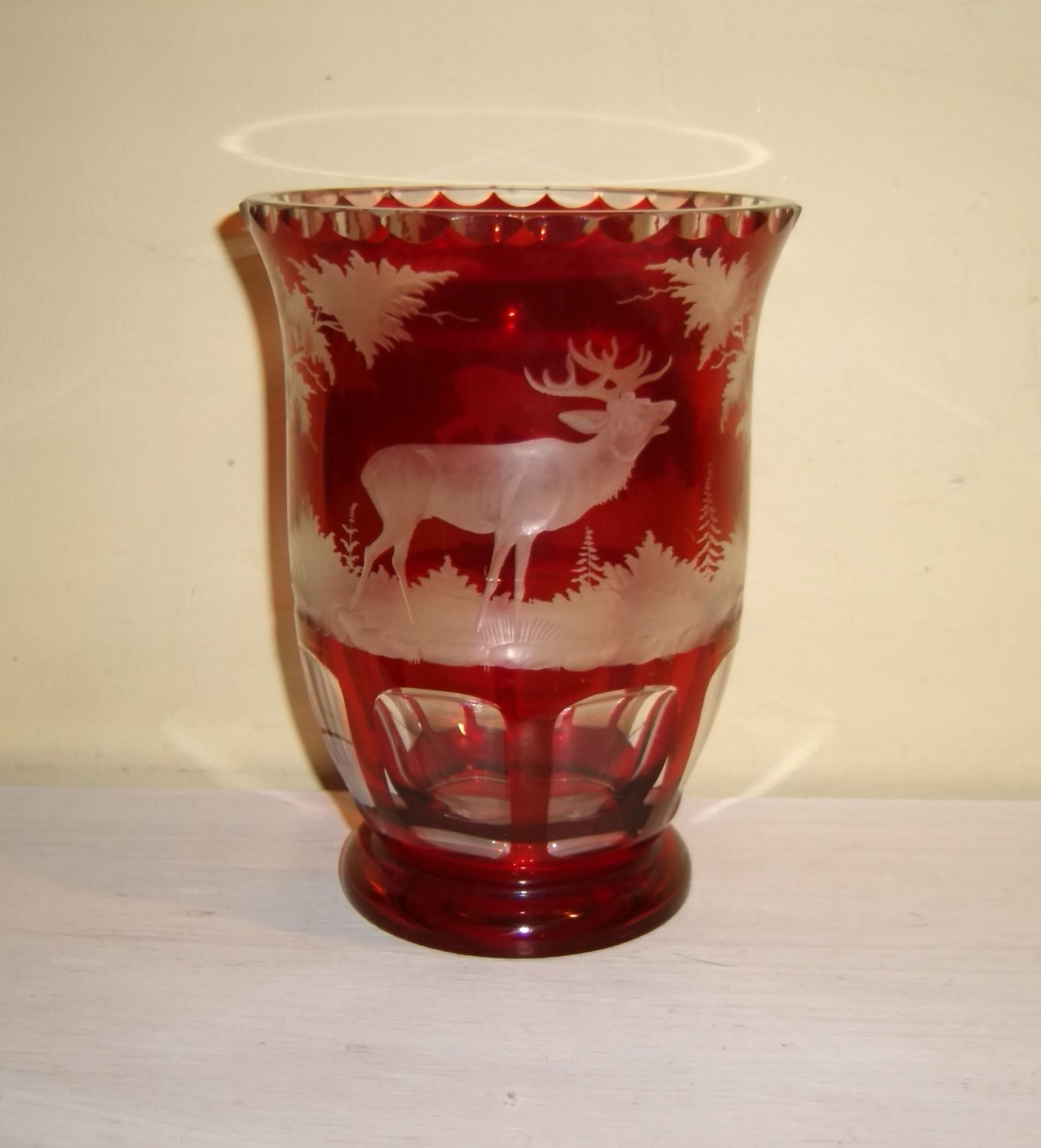 Ruby red glass vase antique bohemian etched cut to clear deer zoom reviewsmspy