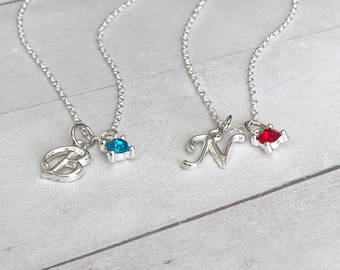 Best Friend Gift ~ BFF Birthday Gift ~ Birthstone Necklace ~ Couples Jewelry Gift ~ Custom Letter Necklace ~ Personalized Gift for Her