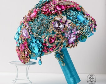 wedding turquoise brooch bouquet bridal bouquet purple wedding bouquet broach bridesmaid bouquet jewelry crystal fuchsia bouquet wedding