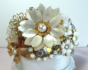 Bridal Bracelet Beautiful Mother of Pearl Flower Cuff From Vintage Jewels