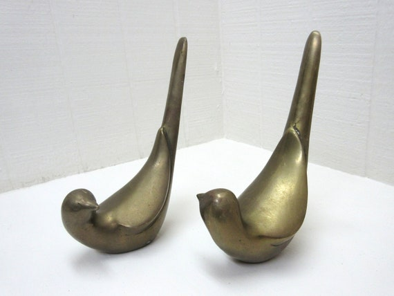 Vintage Brass Dove Figurines Lot Of 2