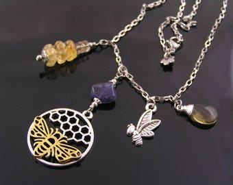 Honey Jar Necklace, Honey Bee Charm Necklace, Iolite and Citrine Necklace, Bib Necklace, Charm Holder Necklace, Bee Jewelry, Bee Hive, N1255