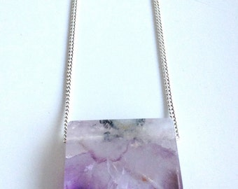 Amethyst geode necklace on silver plated chain