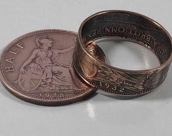 Size 5-11 United Kingdom Half Penny Coin Ring