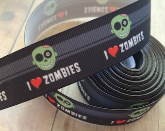 5 yards i love zombies grosgrain ribbon 1""
