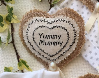 Cute 'Yummy Mummy' gift badge,  brooch. Lovely gift for the expectant or new Mum at her Baby Shower.