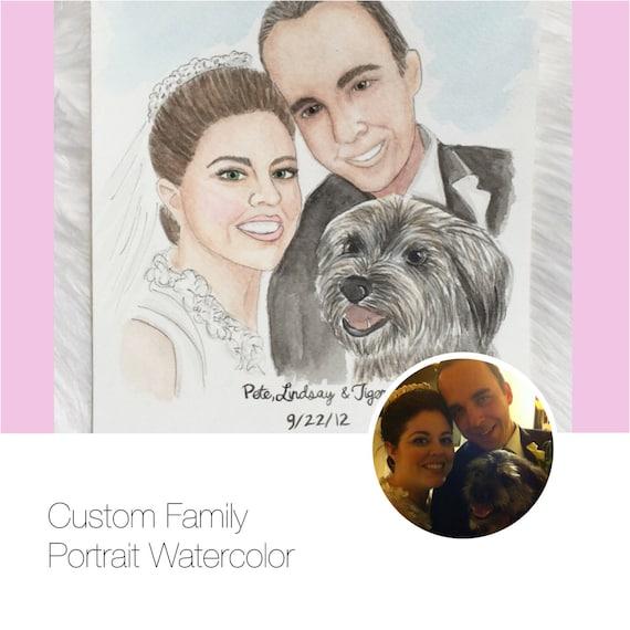 Custom watercolor family portrait, family portrait, family painting, wedding painting, gifts for her, custom gift, wedding gift, wedding art
