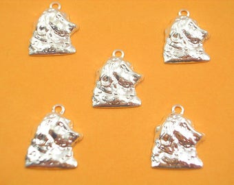 LOT 5 METALS CHARMS Silver: Head of Setter 15 mm