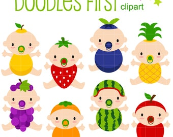 Fruity Babies Digital Clip Art for Scrapbooking Card Making Cupcake Toppers Paper Crafts