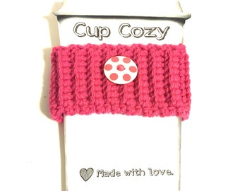 Cup cozy, cup insulator, coffee cup sleeve, cup sweater, drink cozy, cup hug, crochet cup cozy, polka dot cup cozy, beverage cozy, pink cozy