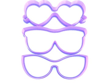 Sun Glasses Cookie Cutter, Eye Glasses Cookie Cutter, Summer Cookie Cutter, Heart Shape glasses Cookie Cutter, Cat Eye Glasses cookie cutter