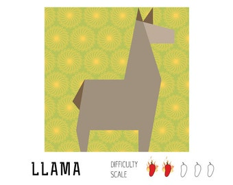 Llama paper pieced quilt pattern in PDF