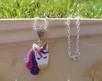 Unicorn necklace polymer clay fimo - white horse - unicorn - girl necklace animal Pink Purple necklace - child necklace