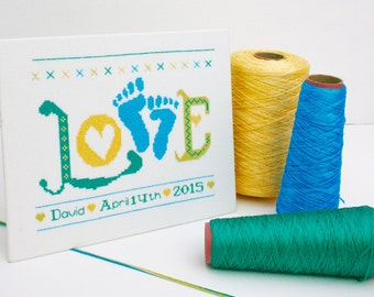 Baby Boy Cross Stitch Kit, 'Love, Baby feet' sampler. DIY Kit.  Designed by Ruth Caig