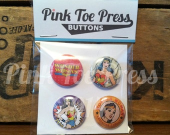 Wonder Woman Pinback Button Pack of 4