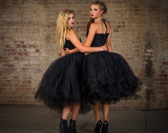 Womens skirt tea length Adult black tutu, gorhic wedding tutu, tutu, tutu,halloween skirt, costume dress, prom dress, tea length black tutu
