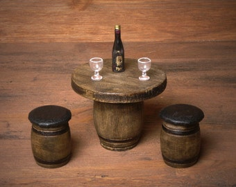 Miniature Wooden Barrel Table Set for Your Dollhouse