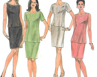 Womens Princess Seam Top in Two Lengths and Skirt, Sleeveless or Short Sleeve Top, Back Slit Skirt, McCalls 2121 Sewing Pattern Size 6-8-10