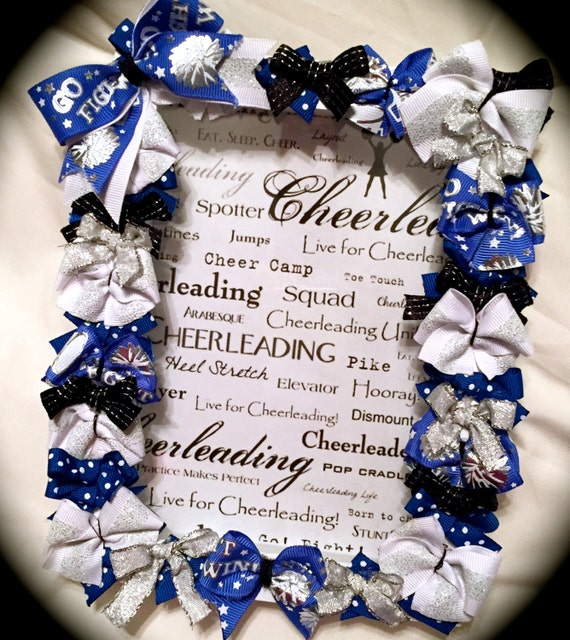 CHEER Gift~Cheer Bow Picture Frame 5x7 SHADOW Box LOTS of Bows All ...