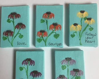 Inspirational coneflowers on 2 by 3 canvas