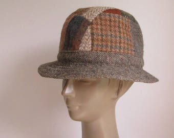 Vtg patchwork tweed Fedora/ Donegal Irish wool tweed fedora made by Hats of Ireland  Castlebar