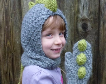 Knitting Pattern (UK) for Dinosaur Hood & paws.  Size Baby, Children, Adult. Knits quick, Chunky Yarn. Picture Tutorial.  INSTANT DOWNLOAD