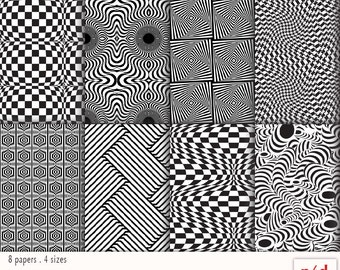 Black & White Optical Illusions -  Wrapping Paper - Digital Download, Printable PDF, Instant Download