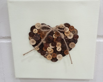 Button heart wall hanging