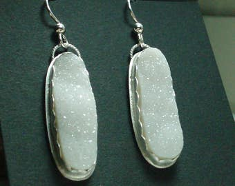 White Druzy Drop Earrings, brushed silver, long oval, white stones, crystals