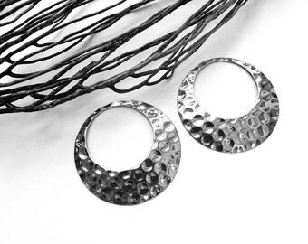 2 pendants hoops hammered steel stainless 45mm