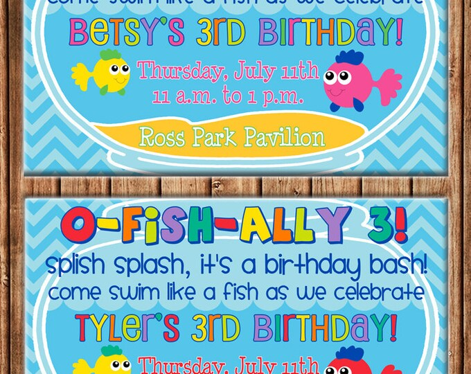 Boy or Girl Fish Bowl Pool Birthday Party - Can personalize colors /wording - Printable File or Printed Cards
