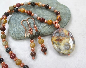 Earthy Jewelry Set, Colorful Agate Pendant, Multicolor Gemstone Necklace, Dangle Earrings, Gray Green Yellow Russet Red Stones, Copper JS155