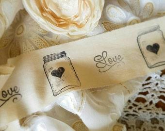 WeddingFabric Trim, wedding  Decor,  DIY wedding, Cotton trim, Gift wrap, Fabric Ribbon, hand stamped trim, Tattered Ribbon, Bridal shower