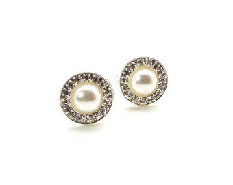 White Pearl Rhinestone Cufflinks – White Pearl Cufflinks - White Cufflinks