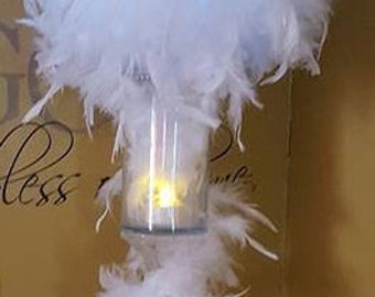 Lighted Feather Centerpiece