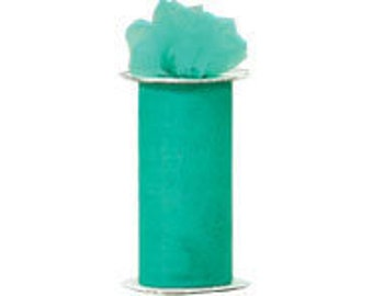 6 inch x 75 ft Nylon Tulle - TEAL   (only 2.25 per roll)
