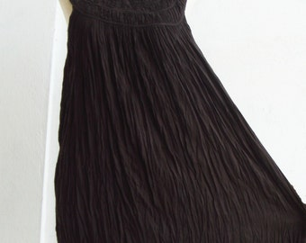 D1, Coco, Ruffle, Sleeveless, Cotton Dress, brown dress