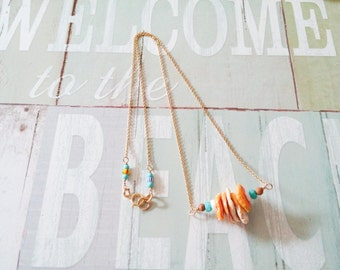 Hawaiian Sunrise Shell Necklace, 14k gold fill chain necklace, turquoise necklace,