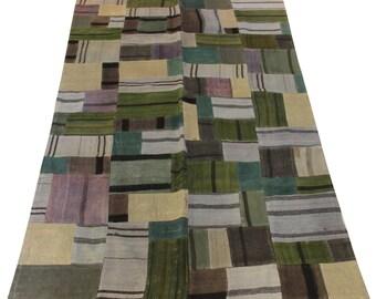 Green Kilim Patchwork Rug 8,3x4,9 Feet Bohemian Kilim Rug Home Decor Accent