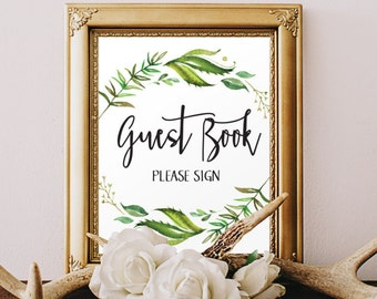 printable guest book sign printable wedding signage please sign our guest book greenery wreath leafy green wedding sign garden wedding decor