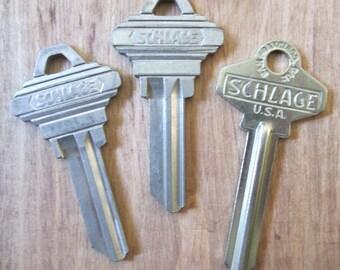 Lot de 3 Vintage fleuri petites clés maison bâtiments serrures Schlage (lot K)
