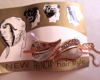 Eloxal Aluminum Atomic Rhinestone Hair Barrette on Original Card Never Worn  Mid Century Old Stock Accessories Up Do MoonlightMartini