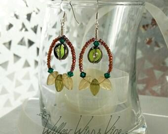 Czech Glass and Swarovski Earrings - Olive