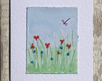 Hand painted watercolour of meadow greetings card, watercolour card, hand made greetings card, dragonfly card, blank greetings card