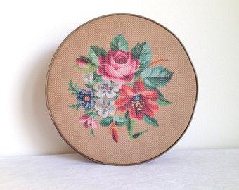 Vintage Guildcraft Tin Brown Needlepoint Floral Design Rustic home decor petit point