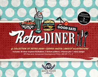 RETRO DINER  Digital Linocut Illustrations: A clip art set including hamburger, fries, milkshake, pie, coffee, fork, knife, plate and more!