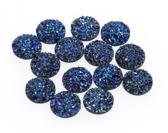 Metallic Ocean Blue 12mm Faux Druzy Crystal Clusters Cabochons SMALL Nuggets sfb0330