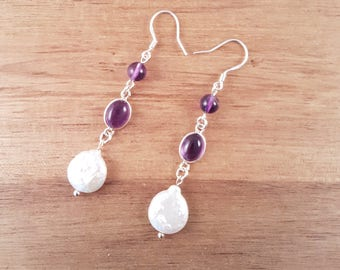 Amethyst and white pearl dangle sterling silver earrings