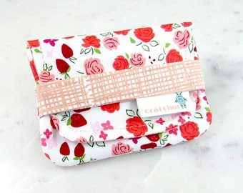 Sanitary Pad Holder, Strawberry Floral, Pink Coral, Tampon Case, Sanitary Pad Case, Tampon Holder, Sanitary Napkins, Period Case, Card Case
